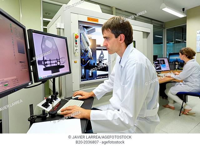 XTH 225. Computed tomography system. Industrial X-ray. Technicians inspect the internal structure and porosity of the material of a component