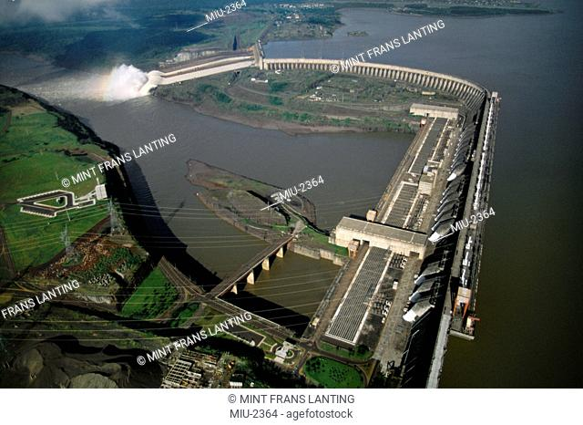 Itaipu dam near Iguacu falls aerial, Brazil