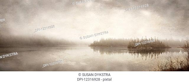 Northern autumn landscape in fog and ice; Thunder Bay, Ontario, Canada