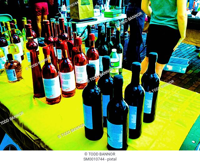 Wine bottles at wine tasting festival. Oak Park, Illinois