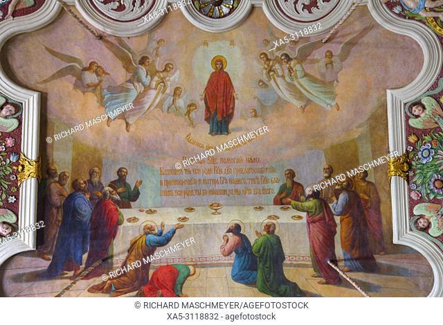 Ceiling Frescoes, St Serguis Church, The Holy Trinity Saint Serguis Lavra, UNESCO World Heritage Site, Sergiev Posad, Golden Ring, Russia