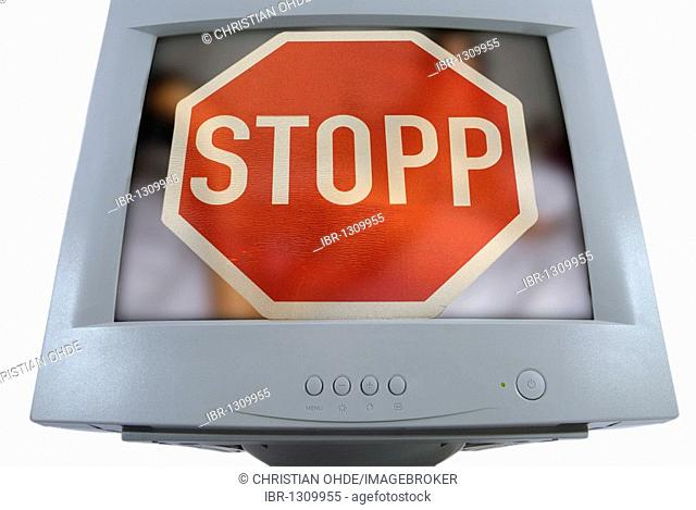 Stop sign on a computer monitor, prohibited content on the Internet