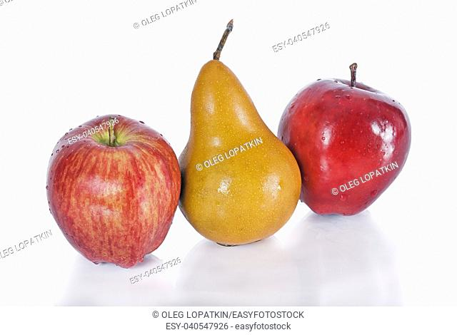 pear with apples on a white background