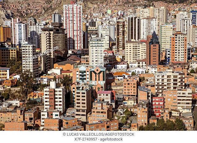 Panoramic view of downtown, La Paz, Bolivia