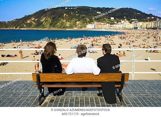 Gros beach, San Sebastian. Guipuzcoa, Basque Country, Spain