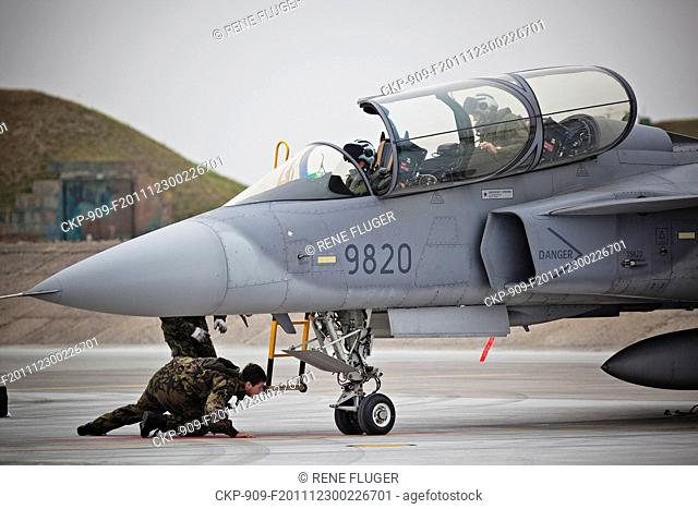 Czech Airforce SAAB JAS 39 Gripen, multirole jet fighters, of the 211th tactical squadron prepare for training flights from the 21st Tactical Air Force Base at...