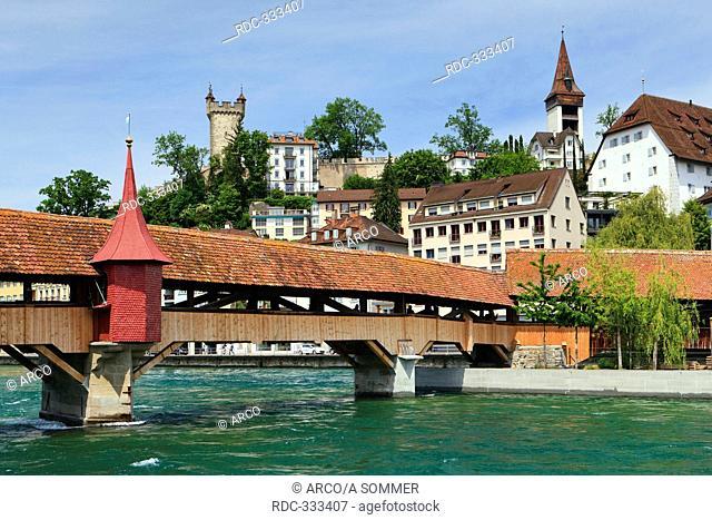 Spreuer Bridge, roofed wooden bridge, Reuss River, Lucerne, Switzerland / Spreuerbrücke