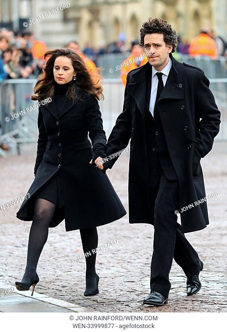 The funeral of Stephen Hawking at Great St. Mary Church in Cambridge Featuring: Felicity Jones, Charles Guard Where: Cambridge