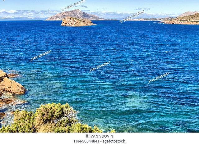 Aegean sea coast, Cape Sounio, Sounion, Attica, Greece