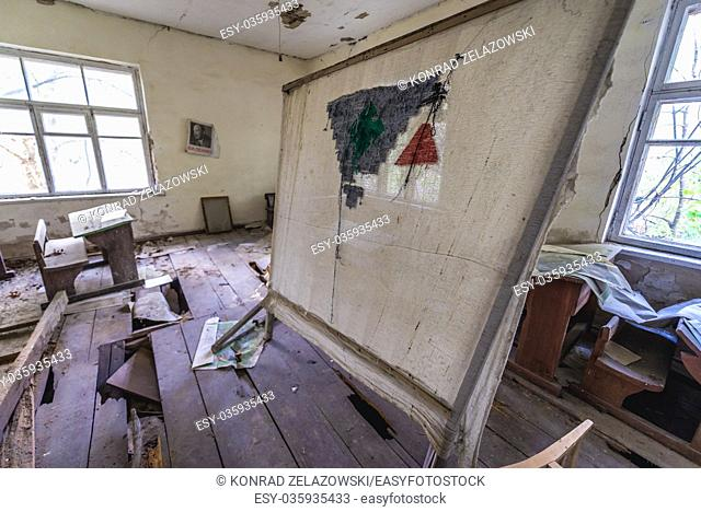 Inside the primary school in Krasne abandoned villages of Chernobyl Nuclear Power Plant Zone of Alienation around nuclear reactor disaster, Ukraine