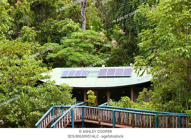 A toilet block with solar panels on the roof in the Daintree rainforest in the North of Queensland, Australia, which is the oldest continuously forested...