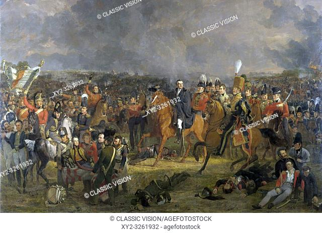 The Battle of Waterloo, after a painting by Jan Willem Pieneman on display in the Rijksmuseum, Amsterdam, Netherlands. Wellington, centre