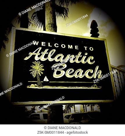 Welcome sign to Atlantic Beach, Florida, USA