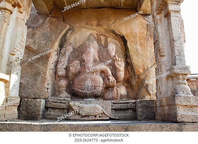 Huge Ganesha carved into the side of a boulder. South of main shrine, Veerabhadra Swamy Temple, Lepakshi, Andhra Pradesh, India