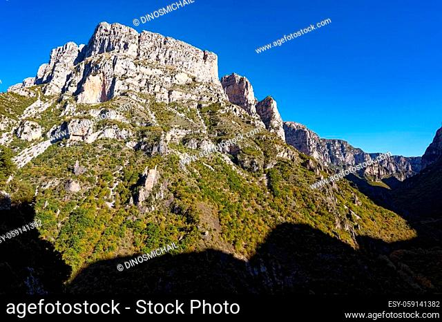 Landscape at the Vikos Gorge, listed as the deepest gorge in the world by the Guinness Book of Records, in Epirus, Greece