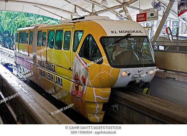 Malaysia, Selangor, Kuala Lumpur, the Kuala Lumpur monorail train arrives at Medan Tuanku monorail station