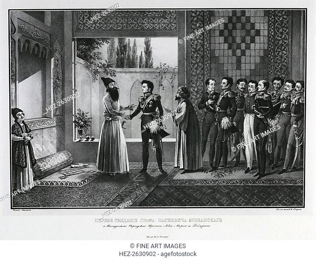 First Meeting of Count Ivan Paskevich with Abbas Mirza, 1828. Artist: Beggrov, Karl Petrovich (1799-1875)