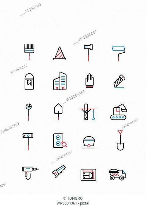 Set of various line icons related to construction