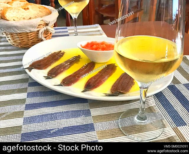 Glass of white wine and anchovy fillets serving. Spain