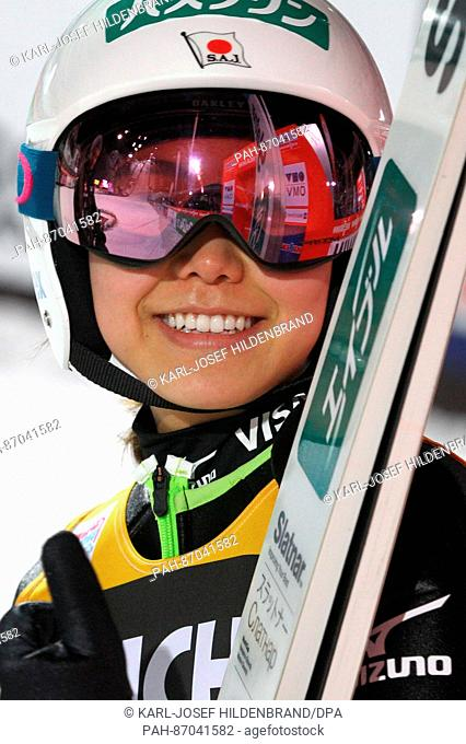 Sara Takanashi of Japan smiles after her win at the ski jumping world cup in Oberstdorf, Germany, 7January 2017. Photo: Karl-Josef Hildenbrand/dpa | usage...
