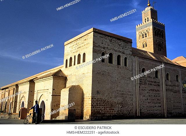 Morocco, Marrakech, imperial city, the Koutoubia mosque listed as World Heritage by UNESCO