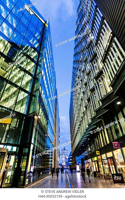 England, London, Southwark, London Bridge City, More London Riverside Office Complex and Tower Bridge