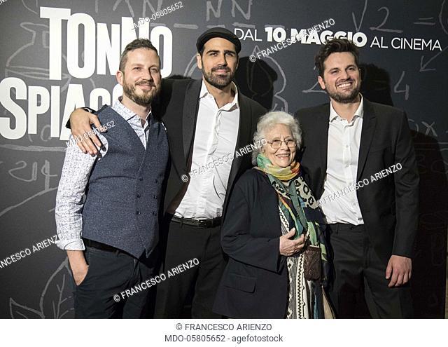 The italian actors Raffaella Panichi, Francesco Arienzo e Frank Matano and the italian director Matteo Martinez at the ohotocall of the film Tonno Spiaggiato