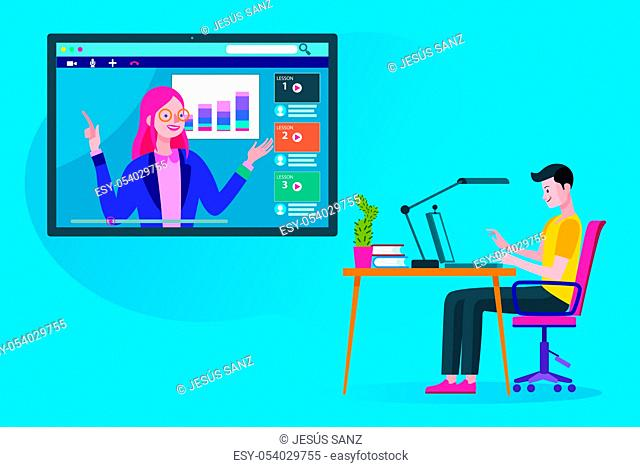 Man following an online education and e-learning course through his laptop computer with a online professional teacher. Flat design illustration