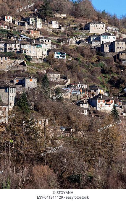 Panoramic view of village Kipoi, Zagori, Epirus, Greece