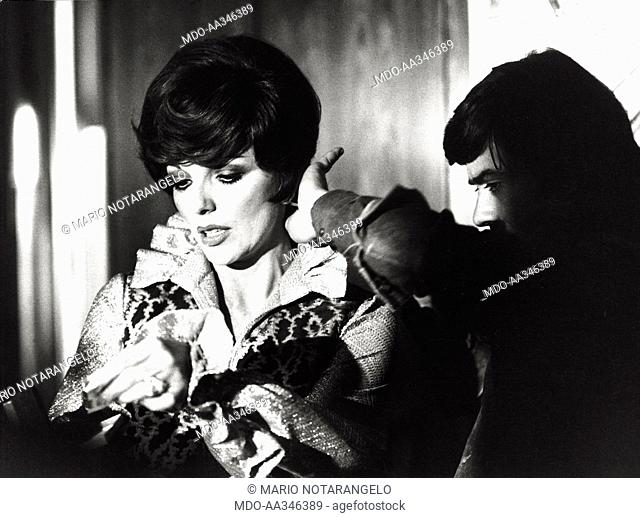 Joan Collins. The actress Joan Collins in a scene from the film 'L'arbitro', directed by Luigi Filippo D'Amico; in the film Joan Collins plays Elena Sperani