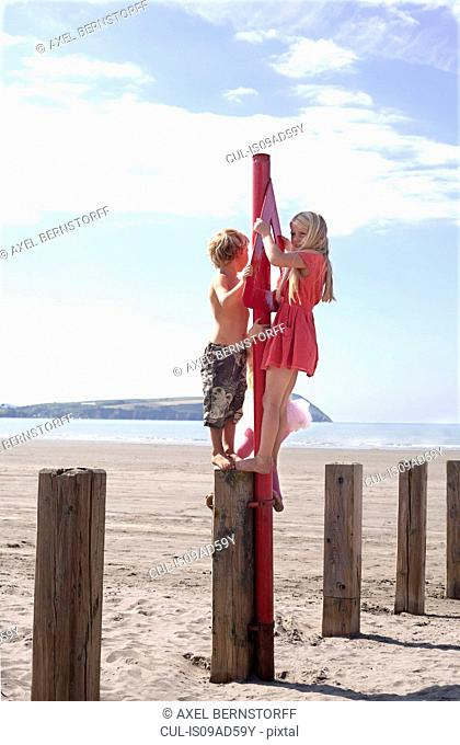 Brother and sister standing on groyne on beach, Wales, UK