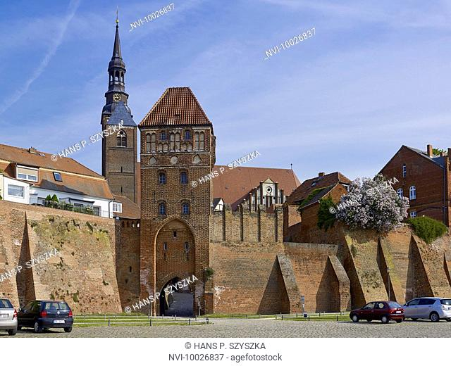 City wall with Elbtor Gate and St. Stephen Church, Tangermuende, Saxony-Anhalt, Germany