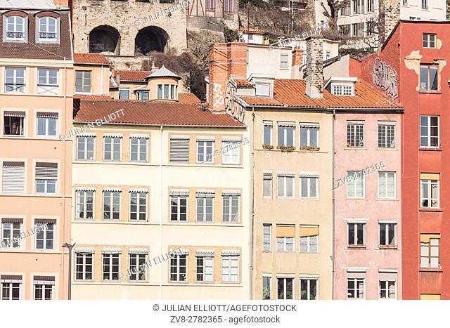 Buildings on the riverside in Lyon, France