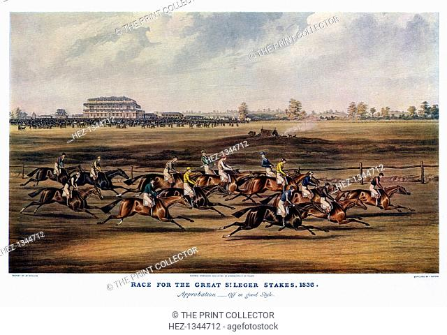 'Race for the Great St Leger Stakes, 1836'. First held in 1776, the St Leger is the oldest of the five classic English horse races