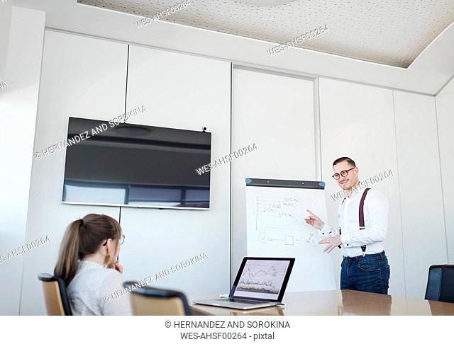 Businesswoman with laptop and businessman at flip chart working in office