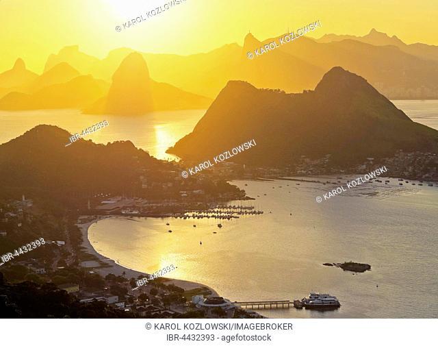 Sunset over Rio de Janeiro, seen from Parque da Cidade, Niteroi, Rio de Janeiro, Brazil