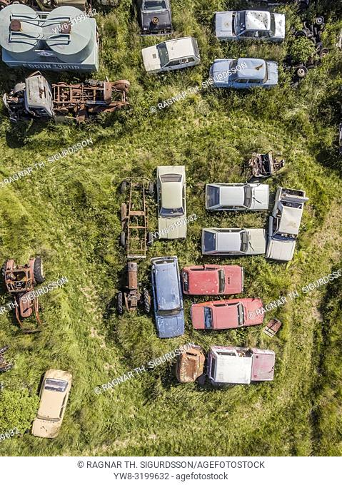 Old cars at The Ystafell Museum, Northern Iceland. This image is shot using a drone