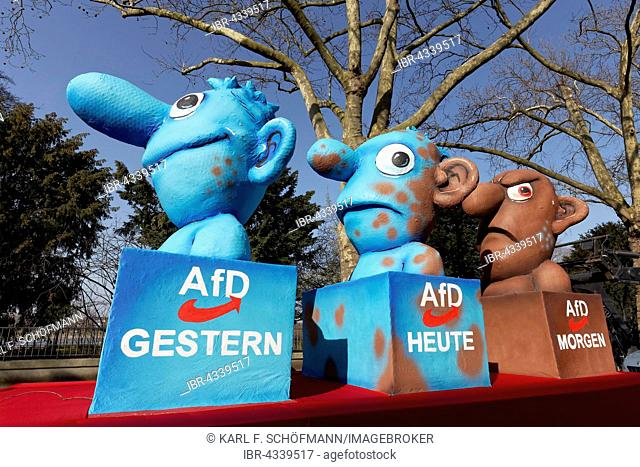 Figures representing the AfD yesterday, today, tomorrow, political caricature by Jacques Tilly, float, Rose Monday parade, Düsseldorf, North Rhine-Westphalia