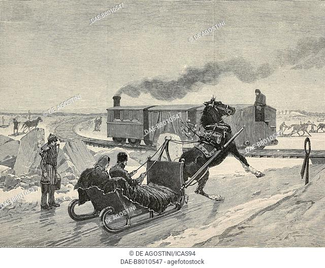 Railway on the ice of the St Lawrence, Winter in Canada, engraving after an illustration by Richard Caton Woodville Jr (1856-1927)