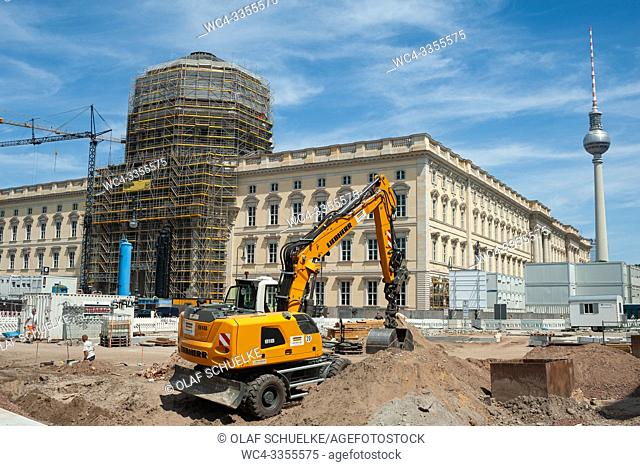 Berlin, Germany, Europe - Construction site of the Berlin City Palace with the Humboldt Forum at Schlossplatz on Museum Island in Berlin-Mitte