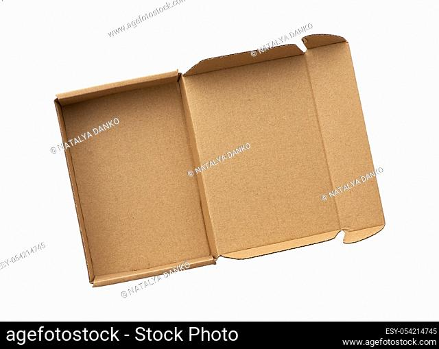 open rectangular small brown box for transporting goods isolated on a white background, top view