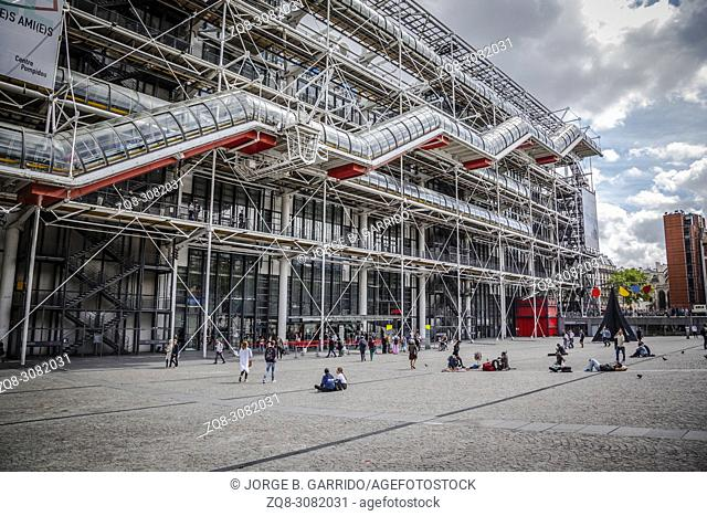 Facade of the Centre of Georges Pompidou in Paris, France