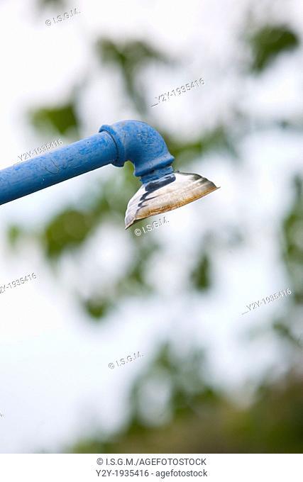 Old shower in blue