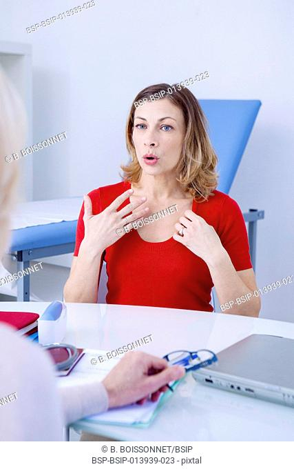 Female patient consulting for hot flushes