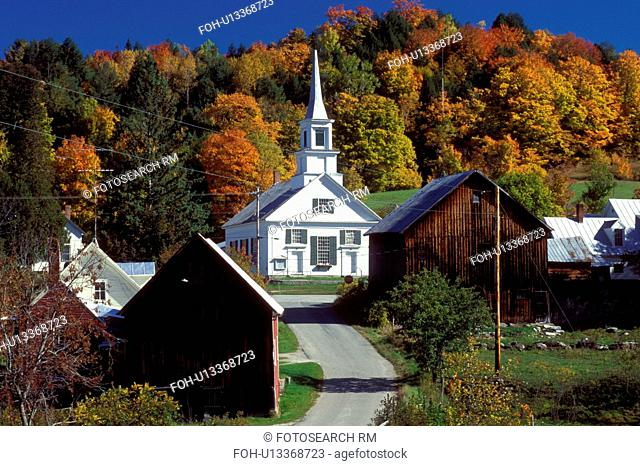 Vermont, A scenic New England village of Waits River in the fall