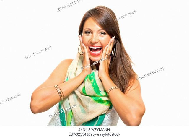 surprised young brunette woman with both hands on her face isolated against white background