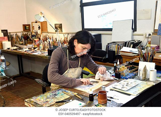 artist drawing in the studio