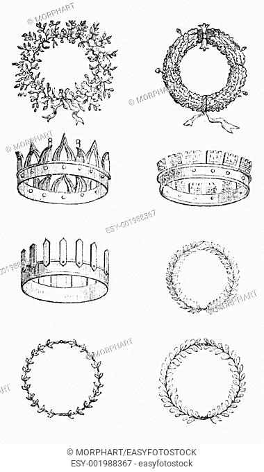 Roman Crowns, vintage engraving  Old engraved illustration of different kinds of Roman Crowns