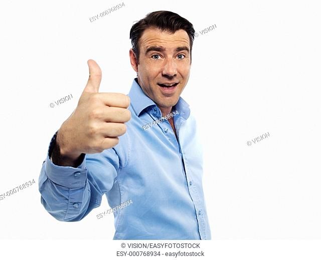 man portrait cheerful thumb up studio isolated on white background