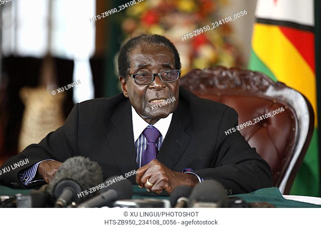 (130912) -- HARARE, Sept. 12, 2013 () -- Zimbabwean President Robert Mugabe speaks to the press after inaugurating the new cabinet in Harare Sept
